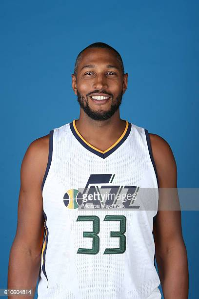 Boris Diaw of the Utah Jazz poses for a headshot during 20162017 Utah Jazz Media Day at Zions Bank Basketball Center on September 26 2016 in Salt...