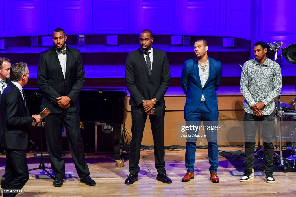 Boris Diaw, Zachery Peacock, Justin Cobbs and Gerald Robinson, nominated fot the Jeep Elite All Star Team (5 Majeur) awards during the Trophy Award LNB Basketball at Salle Gaveau on May 16, 2018 in Paris, France.