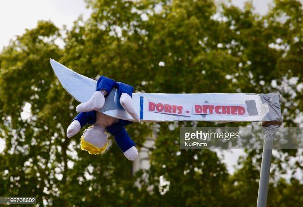 'Boris Ditched' sign during AntiBrexit demonstrations at Parlament Square London England on Saturday September 7 2019 The protests took place amid...