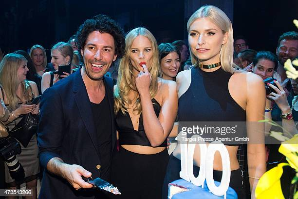 Boris Entrup Marloes Horst and Lena Gercke attend the Maybelline celebration of its 100th anniversary at Kraftwerk on May 15 2015 in Berlin Germany