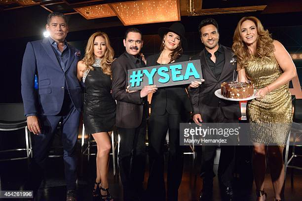 Boris Izaguirre Stephanie Himonidis Chiquibaby Mario Quintero Lara Olga Tanon Luis Fonsi and Lucero attends Telemundo press conference for Yo Soy El...