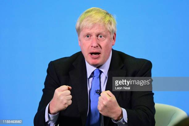 Boris Johnson addresses Conservative Party members during a hustings on July 13 2019 in Colchester England The race between Boris Johnson and Jeremy...