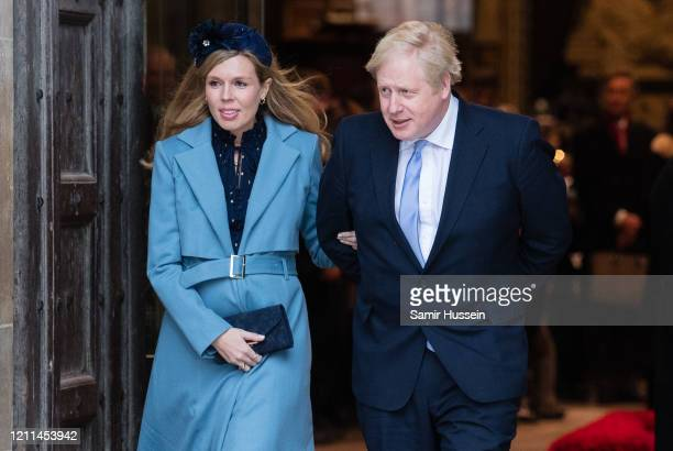 Boris Johnson and Carrie Symonds attend the Commonwealth Day Service 2020 on March 09, 2020 in London, England.