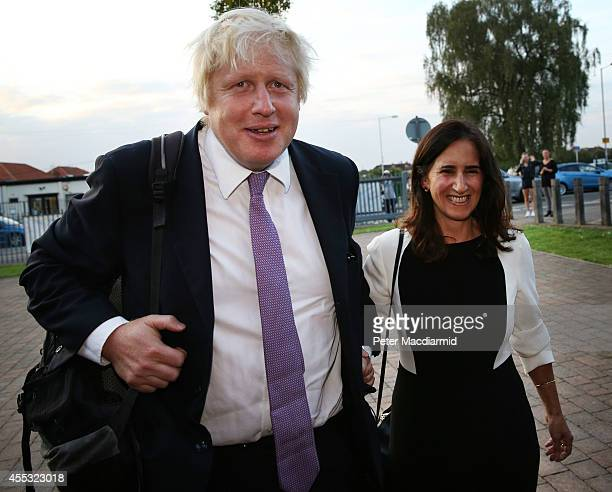 Boris Johnson and his wife Marina arrive at Ruislip High School on September 12 2014 in Uxbridge England Mr Johnson is attending a Conservative Party...