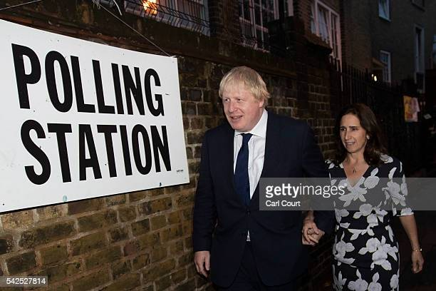 Boris Johnson and his wife Marina Wheeler arrive at the polling station on June 23 2016 in London United Kingdom The United Kingdom has gone to the...