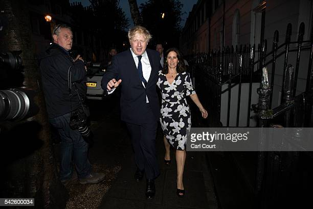 Boris Johnson and his wife Marina Wheeler leave the polling station on June 23 2016 in London United Kingdom The United Kingdom has gone to the polls...