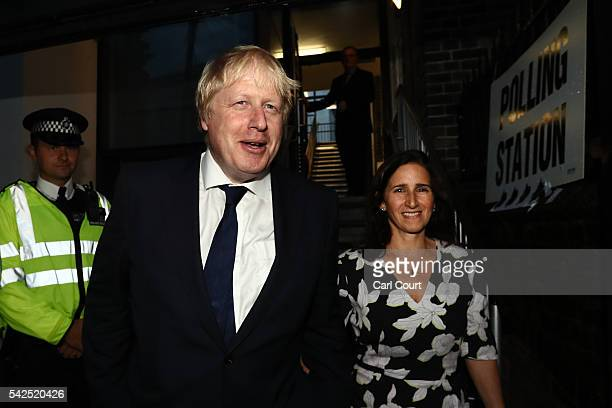 Boris Johnson and his wife Marina Wheeler pose for a photograph as they arrive at the polling station on June 23 2016 in London United Kingdom The...