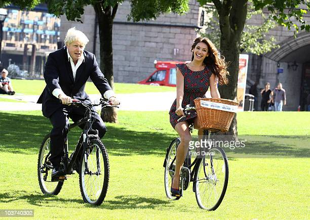 Boris Johnson and Kelly Brook launch the Mayor of London's Sky Ride at Potters Field Park on August 31, 2010 in London, England.