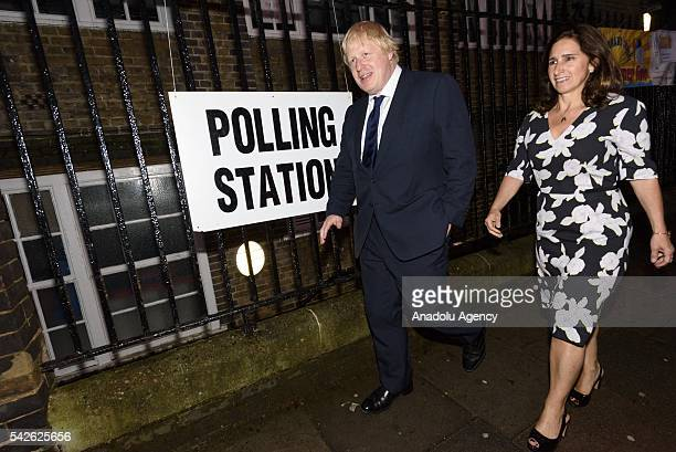 Boris Johnson and wife Marina Wheeler arrives at a polling station to cast their vote for the EU Referendum in London United Kingdom on June 23 2016