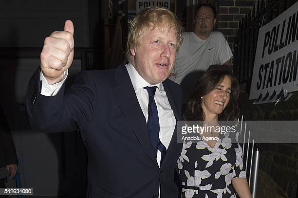 Boris Johnson and wife Marina Wheeler leave after casting their votes at a polling station on the EU Referendum in London United Kingdom on June 23...