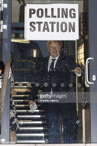 Boris Johnson and wife Marina Wheeler vote at a polling station on the EU Referendum in London United Kingdom on June 23 2016