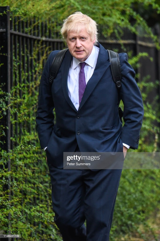 Candidate For The Conservative Party Leadership Boris Johnson Arrives At His Girlfriend's Home : News Photo