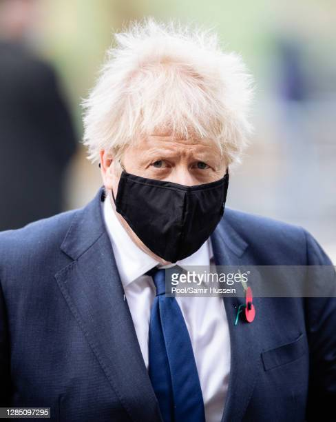 Boris Johnson attends a service to commemorate the Centenary Of The Burial Of The Unknown Warrior at Westminster Abbey on November 11 2020 in London...