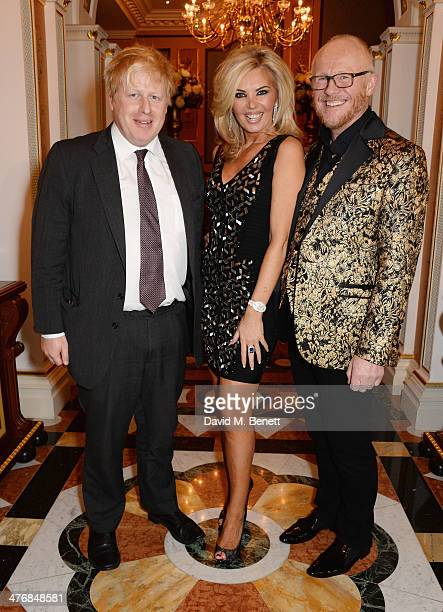 Boris Johnson Claire Caudwell and John Caudwell attend a dinner hosted by John Caudwell on March 5 2014 in London England