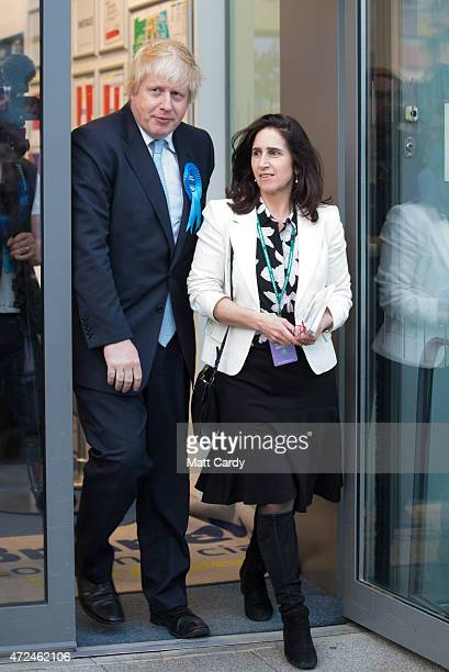 Boris Johnson Conservative candidate for Uxbridge and his wife Marina Wheeler leave the count at Brunel University London on May 8 2015 in Uxbridge...