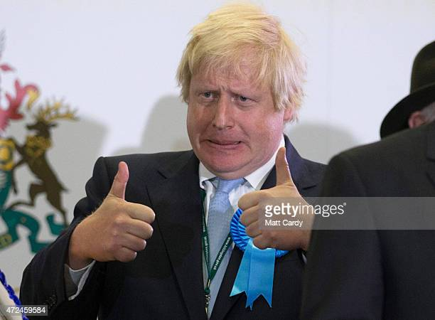Boris Johnson Conservative candidate for Uxbridge celebrates on stage following his win as he attends the count at Brunel University London on May 8...
