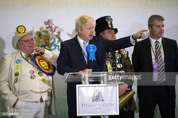 Boris Johnson Conservative candidate for Uxbridge speaks on stage following his win as he attends the count at Brunel University London on May 8 2015...