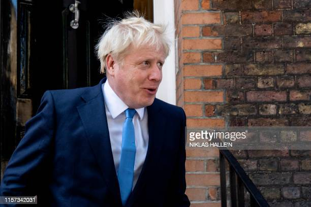 Boris Johnson Conservative MP and leadership contender leaves his campaign headquarters to attend an event to announce the winner of the Conservative...