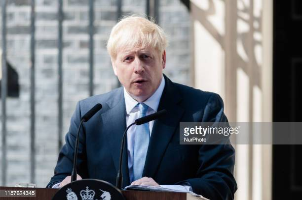 Boris Johnson delivers his first speech as the new Prime Minister of the United Kingdom outside 10 Downing Street on 24 July 2019 in London England...