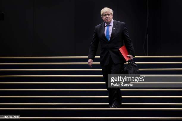 Boris Johnson Foreign Minister of the United Kingdom and Northern Ireland goes downstairs to the assembly hall of the Gymnich conference on February...