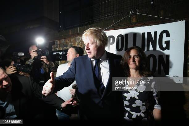 Boris Johnson former London mayor and supporter of the Leave campaign and his wife Marina Wheeler  exit a polling station after voting in the...