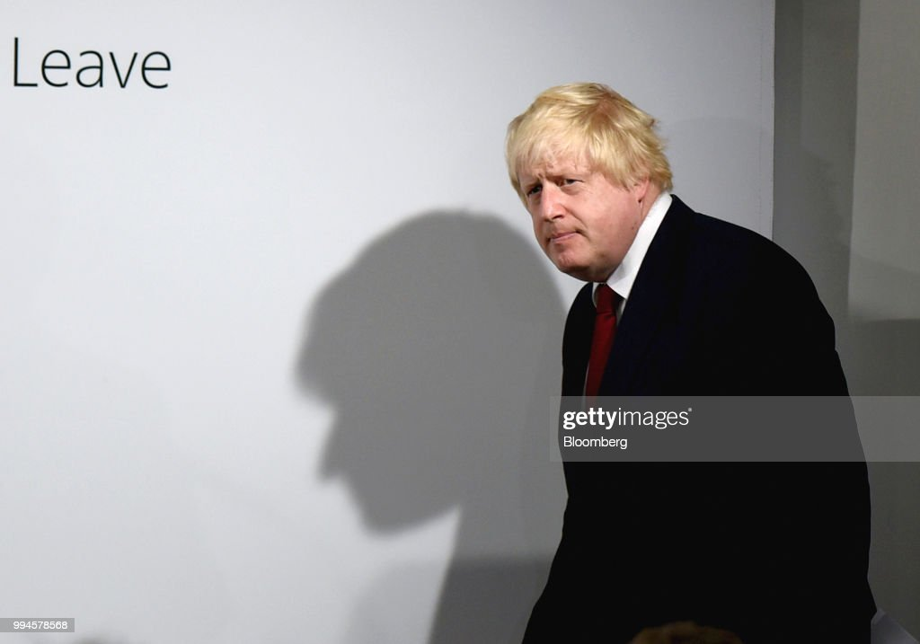 Boris Johnson, former mayor of London, arrives to speak at a news conference at the Vote Leave headquarters following the results in the European Union (EU) referendum in London, U.K., on Friday, June 24, 2016. Johnson resigned from the U.K. government, tipping Prime Minister Theresa May deeper into crisis and increasing the chances shell face a leadership challenge over her Brexit policy. Hours earlier Brexit Secretary David Davis and his deputy resigned over her plans to keep close ties to the European Union after the divorce. The man who is going to inherit one of the toughest jobs in the U.K. -- negotiating Brexit -- is a 44-year-old former Foreign Office lawyer who entered Parliament in 2010: Dominic Raab. Our editors select the best archive images of Raab, Davis and Johnson. Photographer: Mary Turner/Pool via Bloomberg