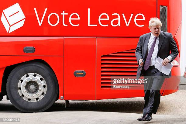 Boris Johnson former mayor of London arrives to speak at the Reid Steel factory during the second day of a nationwide bus tour to campaign for a...