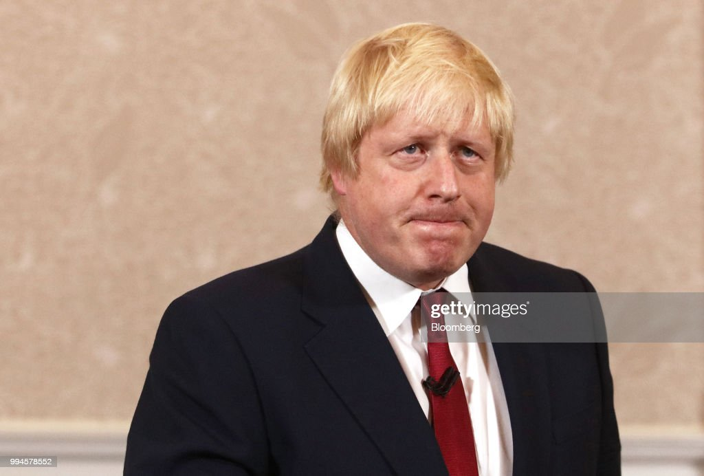 Boris Johnson, former mayor of London, reacts during a news conference after withdrawing from the race for the Conservative party leadership in London, U.K., on Thursday, June 30, 2016. Johnson resigned from the U.K. government, tipping Prime Minister Theresa May deeper into crisis and increasing the chances shell face a leadership challenge over her Brexit policy. Hours earlier Brexit Secretary David Davis and his deputy resigned over her plans to keep close ties to the European Union after the divorce. The man who is going to inherit one of the toughest jobs in the U.K. -- negotiating Brexit -- is a 44-year-old former Foreign Office lawyer who entered Parliament in 2010: Dominic Raab. Our editors select the best archive images of Raab, Davis and Johnson. Photographer: Chris Ratcliffe/Bloomberg via Getty Images