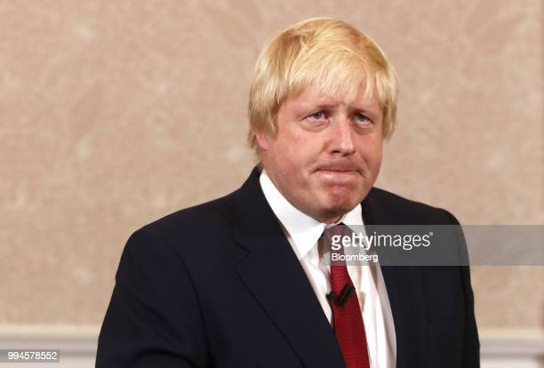 Boris Johnson former mayor of London reacts during a news conference after withdrawing from the race for the Conservative party leadership in London...