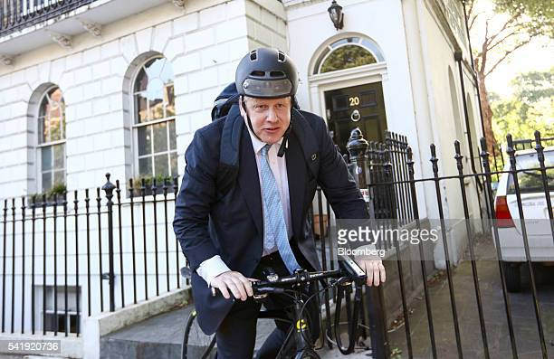 Boris Johnson former mayor of London rides a bicycle as he leaves his home in London UK on Tuesday June 21 2016 The UK referendum on European Union...