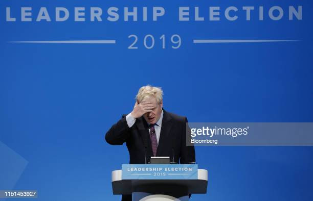 Boris Johnson former UK foreign secretary and UK Conservative party leadership candidate speaks during a hustings event in Birmingham UK on Saturday...