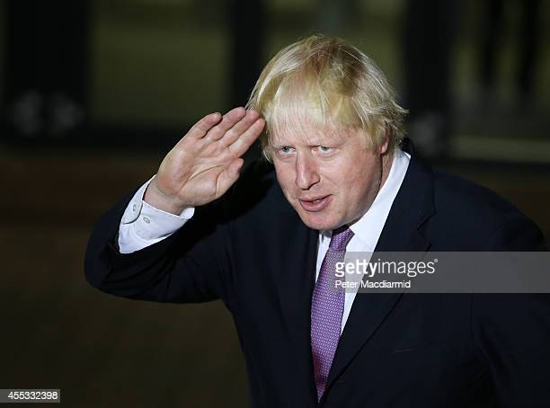Boris Johnson gestures as he talks to reporters at Ruislip High School on September 12 2014 in Uxbridge England Mr Johnson who is currently Mayor of...