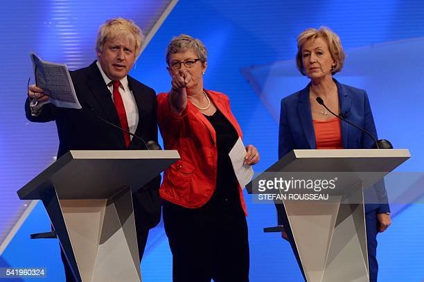 Boris Johnson Gisela Stuart and Andrea Leadsom take part in The Great Debate on the EU Referendum at Wembley in London on June 21 2016 Polls show a...