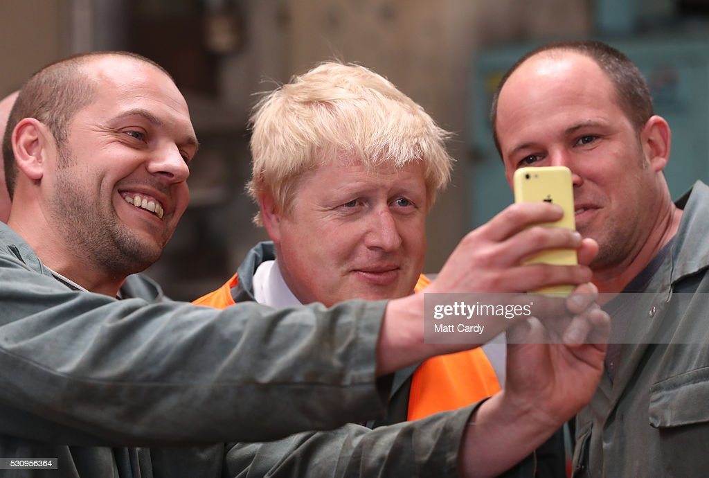 Boris Johnson has his photograph taken as he visits Reidsteel, a Christchurch company backing the Leave Vote on the 23rd June 2016. on May 12, 2016 in Christchurch, Dorset. The Vote Leave battle bus has been touring the South West of England hoping to persuade voters to back a Brexit from the European Union in the Referendum