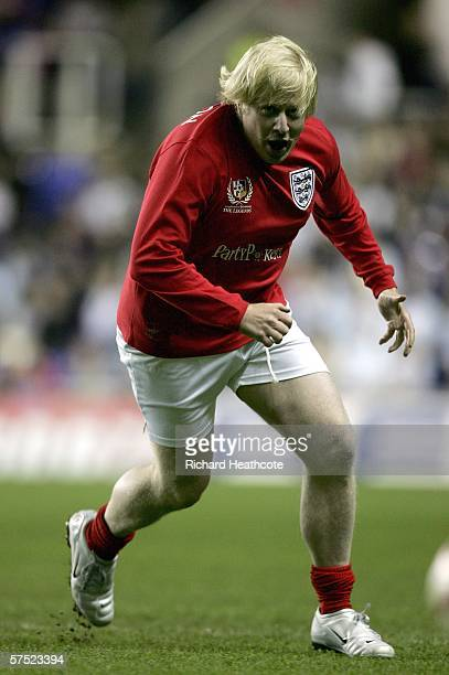 Boris Johnson in action during the Legends match between England and Germany at The Madejski Stadium on May 3 2006 in Reading England