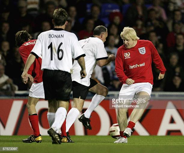 Boris Johnson in action during the Legends match between England and Germany at The Madejski Stadium on May 3, 2006 in Reading, England.