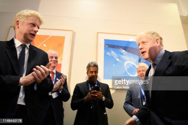 Boris Johnson is congratulated by his brother Jo Johnson MP launching his Conservative Party leadership campaign at the Academy of Engineering on...