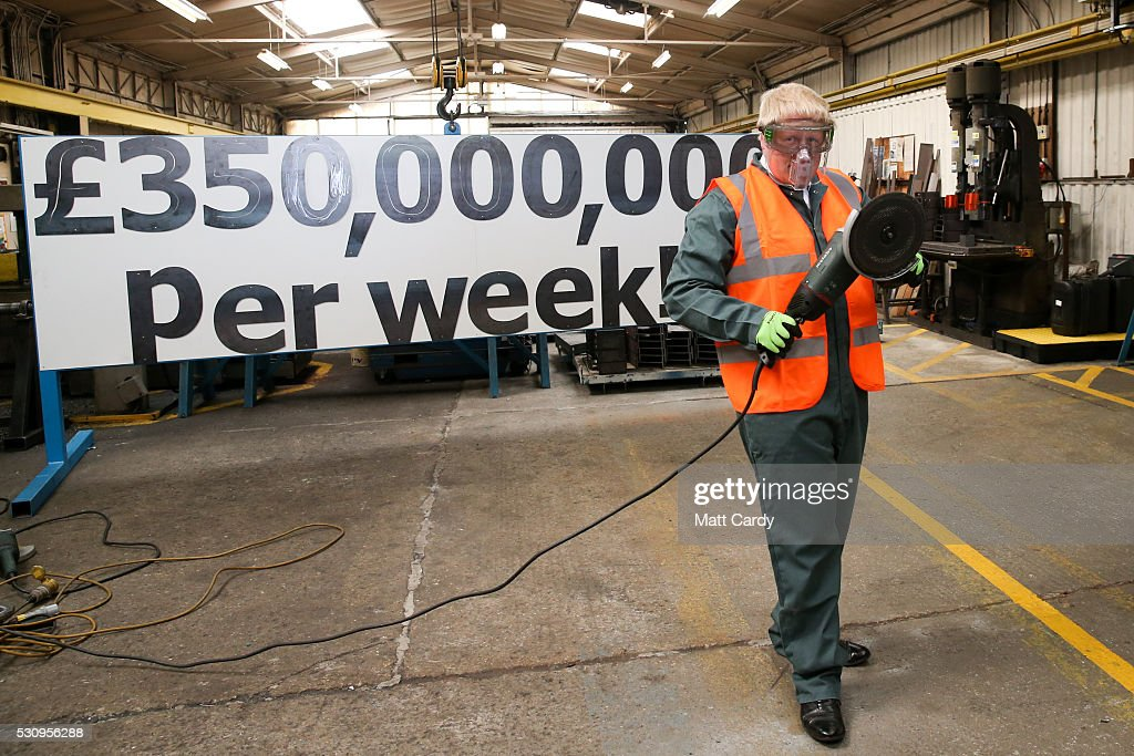Boris Johnson is shown how to use a angle grinder as he visits Reidsteel, a Christchurch company backing the Leave Vote on the 23rd June 2016. on May 12, 2016 in Christchurch, Dorset. The Vote Leave battle bus has been touring the South West of England hoping to persuade voters to back a Brexit from the European Union in the Referendum