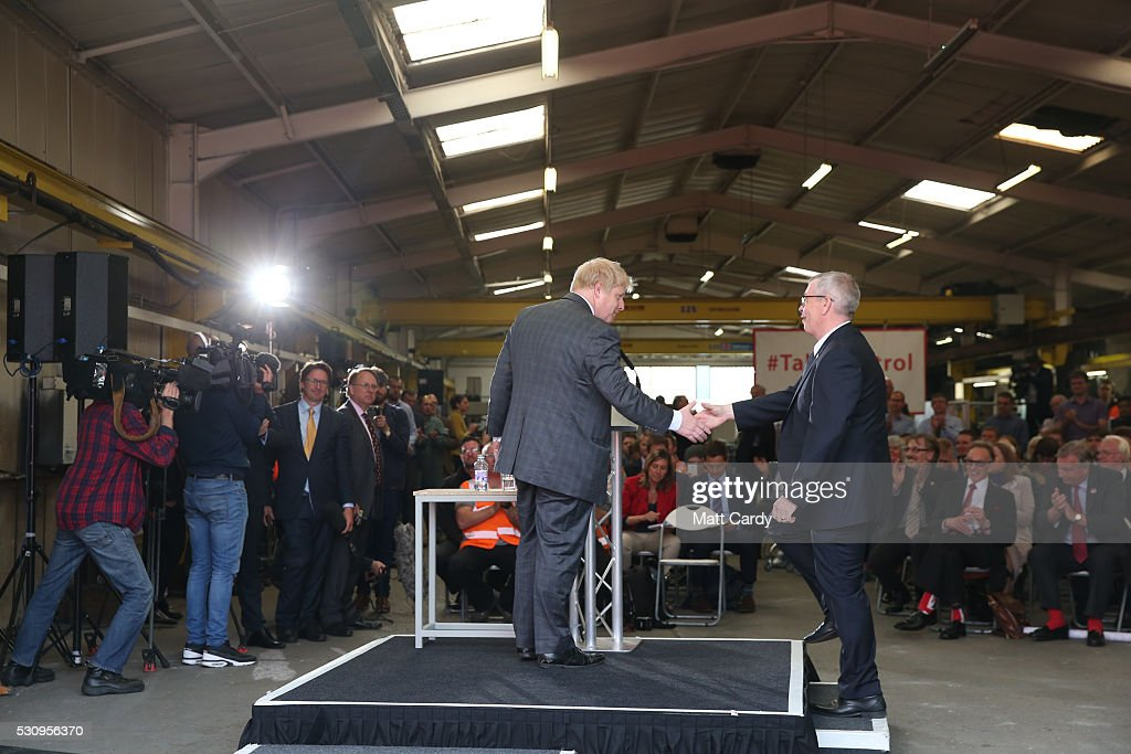 Boris Johnson is thanked as he visits Reidsteel, a Christchurch company backing the Leave Vote on the 23rd June 2016. on May 12, 2016 in Christchurch, Dorset. The Vote Leave battle bus has been touring the South West of England hoping to persuade voters to back a Brexit from the European Union in the Referendum
