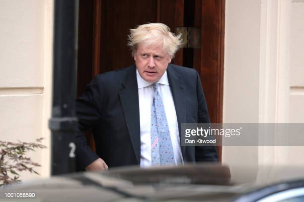 Boris Johnson leaves his graceandfavour residence in Carlton Gardens near Buckingham Palace on July 18 2018 in London England The Former Foreign...