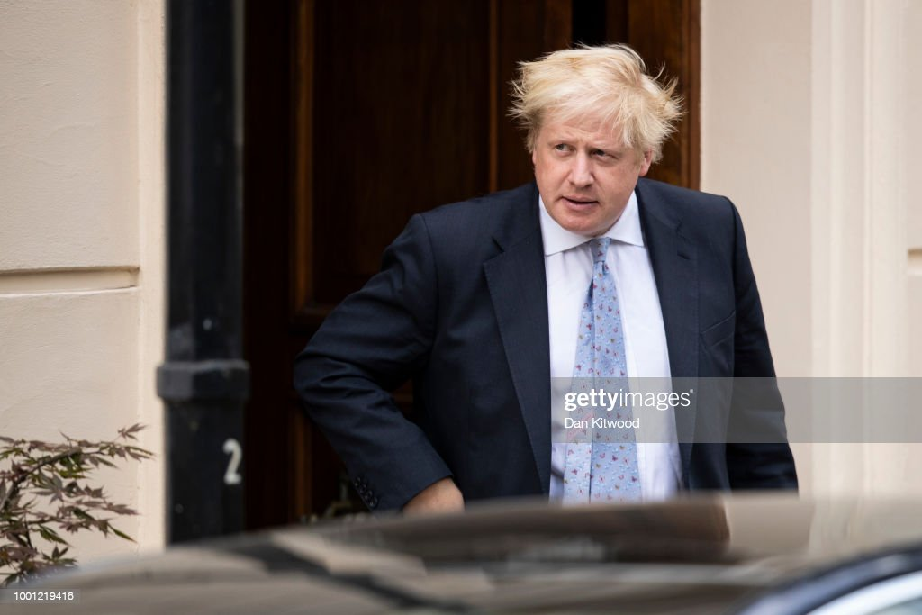 Boris Johnson leaves his grace-and-favour residence in Carlton Gardens near Buckingham Palace on July 18, 2018 in London, England. The Former Foreign Secretary is expected to make his first speech today after resigning from government 9 days ago.