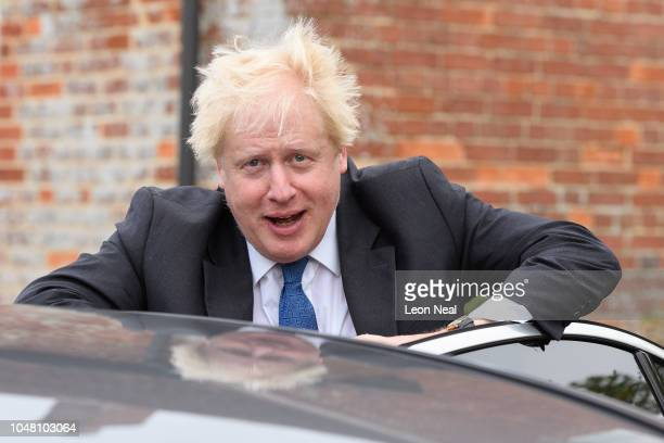 Boris Johnson leaves his home on October 2 2018 in Thame England The former Foreign Secretary is due to talk at a fringe event at the 2018...