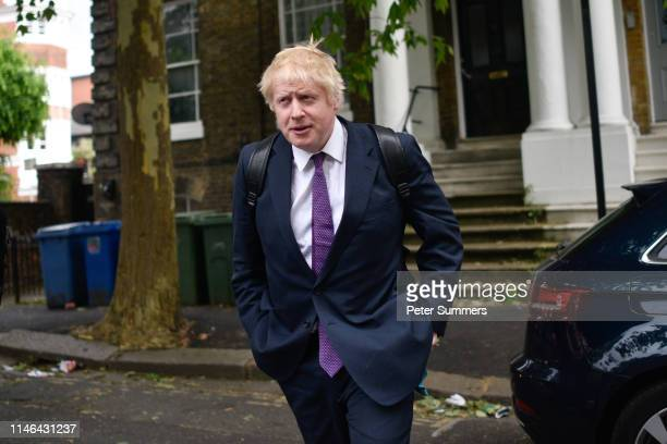 Boris Johnson leaves the home of his girlfriend Carrie Symonds on May 27, 2019 in London, England. Mr Johnson is in the running for leader of the...