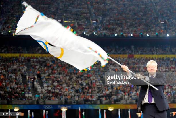 Boris Johnson London mayor is handed the Olympic flag during closing ceremony of the Summer Olympic Games in Beijing China 24th August 2008.