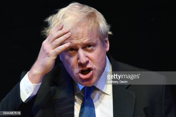 Boris Johnson makes his Brexit speech to the Conservative Home fringe meeting audience today at lunchtime during the Conservative Party Conference on...