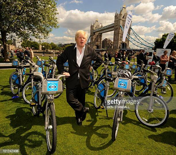 Boris Johnson Mayor of London poses for pictures in London on May 28 during a photocall to promote the launch of London's cycle hire scheme to be...
