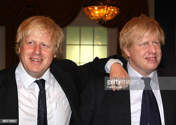 Boris Johnson, Mayor of London poses with his waxwork at Madame Tussauds on May 5, 2009 in London.