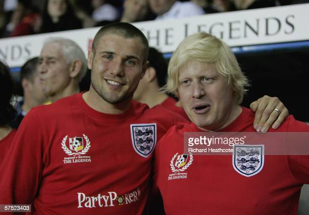 Boris Johnson MP and Ben Cohen of England pose during the Legends match between England and Germany at The Madejski Stadium on May 3 2006 in Reading...