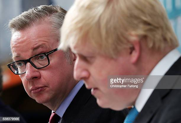 Boris Johnson MP and Michael Gove MP address workers during a Vote Leave campaign visit to DCS Manufacturing Group on June 6, 20016 in...