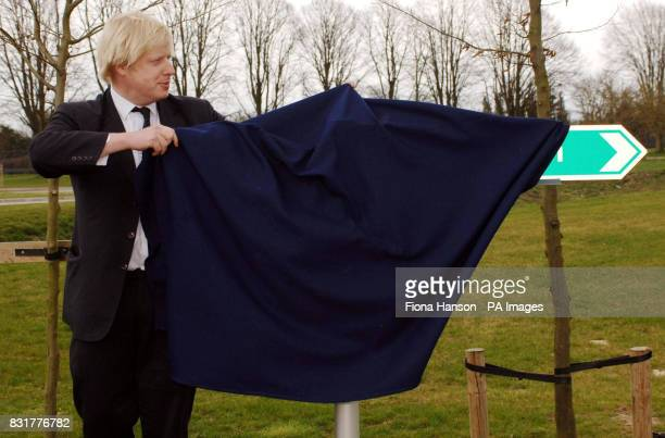 Boris Johnson MP for Henley and Conservative spokesman on Higher Education opens a footpath at the Environment Agency in Wallingford Oxon Friday...
